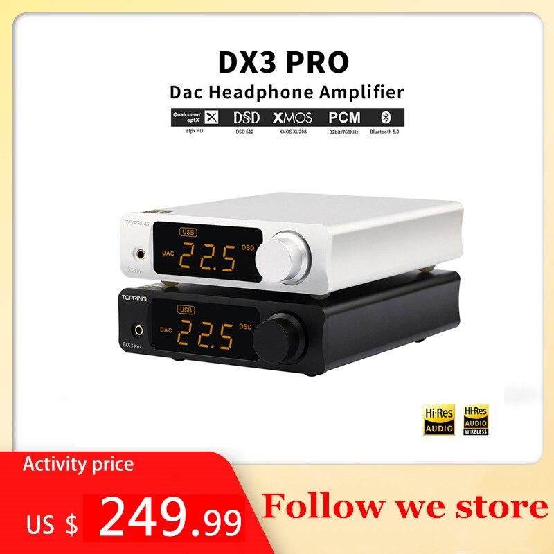 768KHz T/él/écommande D/écodeur Amplificateur Audio St/ér/éo Topping DX3 Pro LDAC HiFi DAC Amplificateur Casque XMOS XU208 Bluetooth USB Coaxial DSD512 32bit Optique Noir