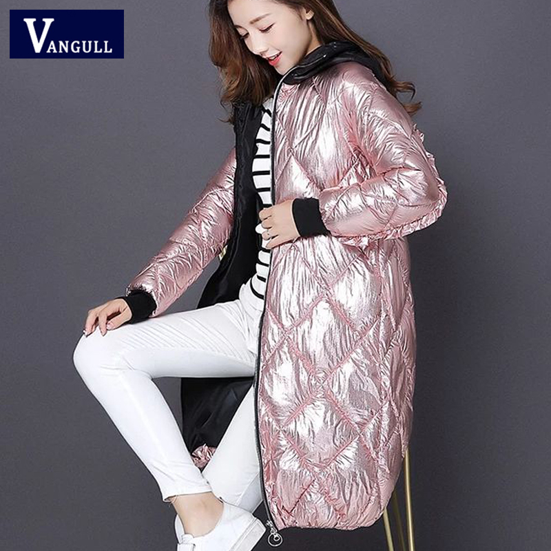 Vangull Women Winter Hooded   Parkas   Coat High Street Fashion Metal color Spliced Long   Parkas   New Glossy Zipper Loose Outerwear