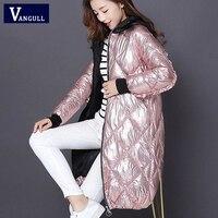 Vangull Women Winter Hooded Parkas Coat High Street Fashion Metal color Spliced Long Parkas New Glossy Zipper Loose Outerwear