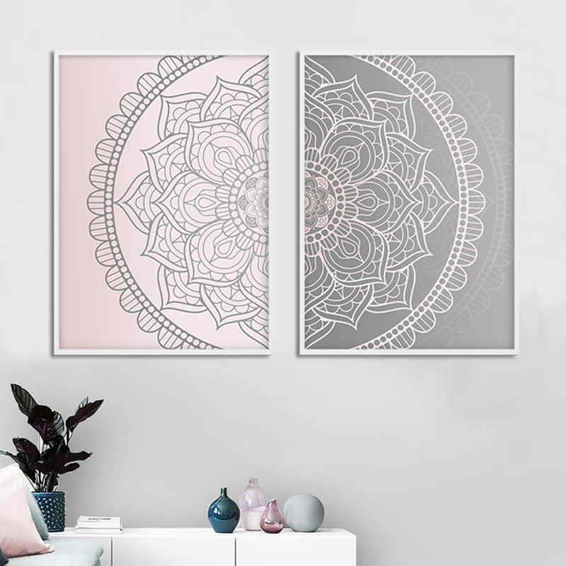 Pink Gray Mandala Abstract Canvas Poster Boho Wall Art Geometric Print Painting Decorative Picture Modern Living Room Decoration