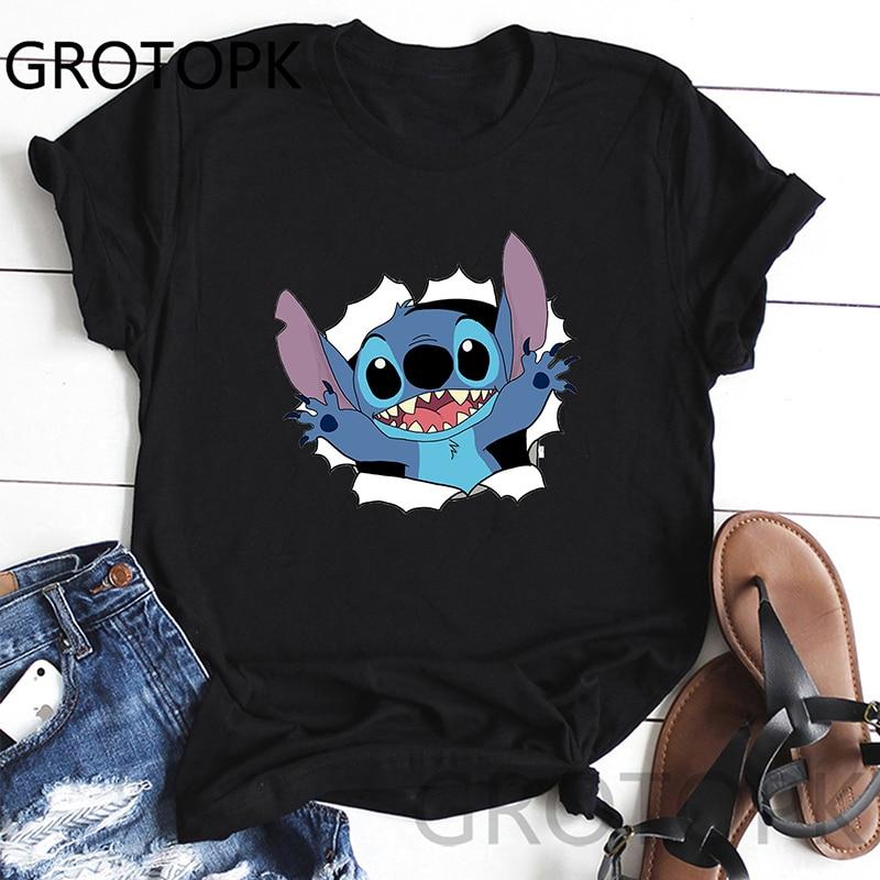Lilo Stitch Funny Printed T Shirt Women Summer Style Short Sleeve Round Neck T-Shirt Fashion Cute Streetwear Tops