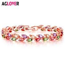 Модный женский браслет aglover с цветами из циркония ААА высококачественный