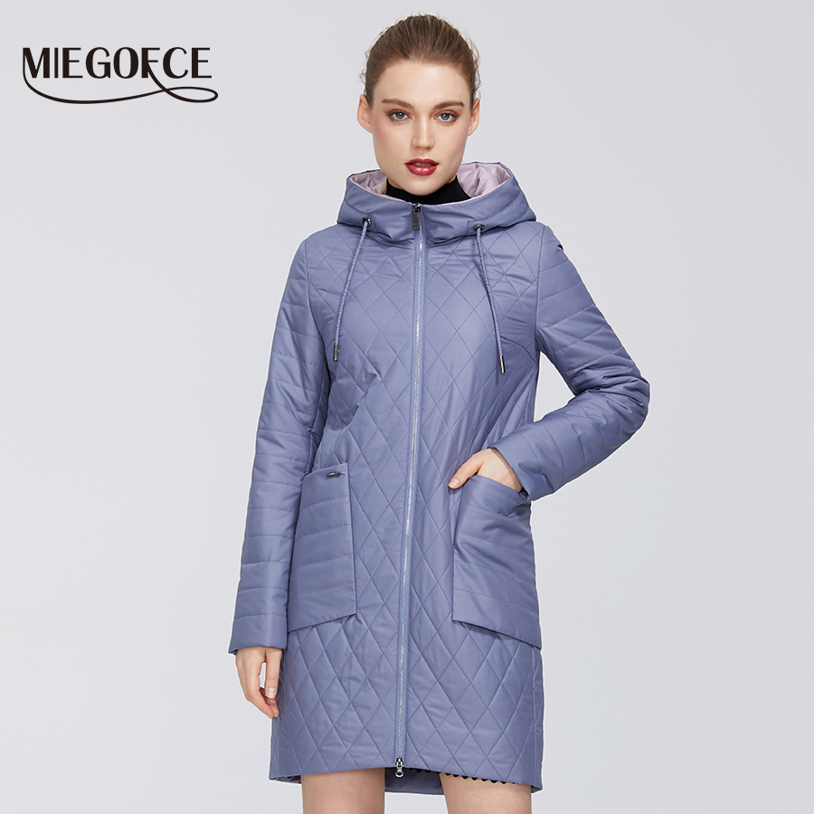 MIEGOFCE 2020 New Women's Collection Spring Jacket Coat With Rhombus Pattern Parka Deep Pockets Resistant Hooded Collar Coat