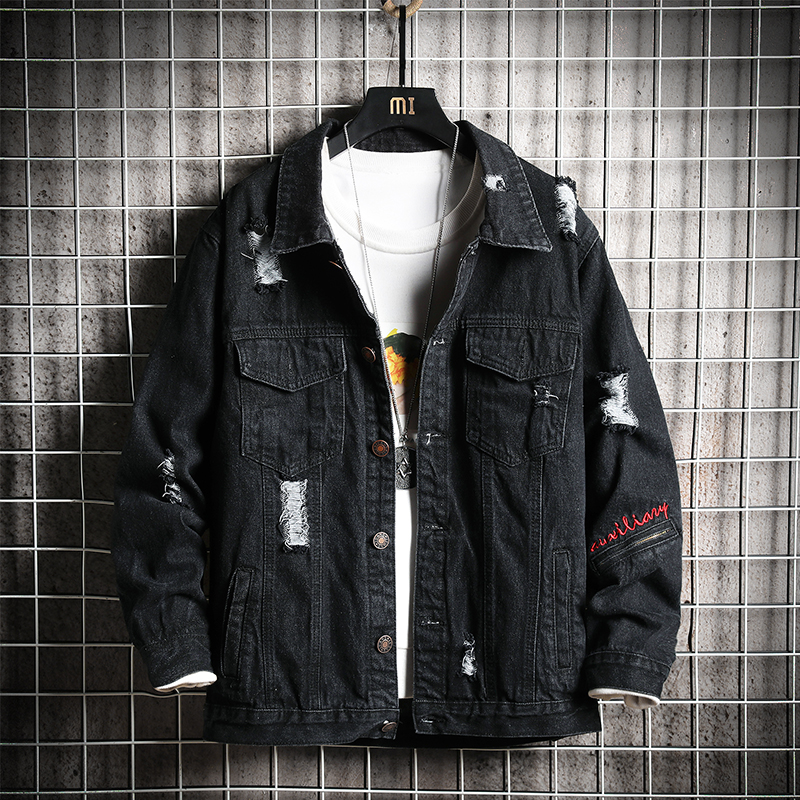 Men Jacket 2020 New Spring and Autumn Fashion Trend Hole Embroidery Loose Denim  Mens Jackets and Coats