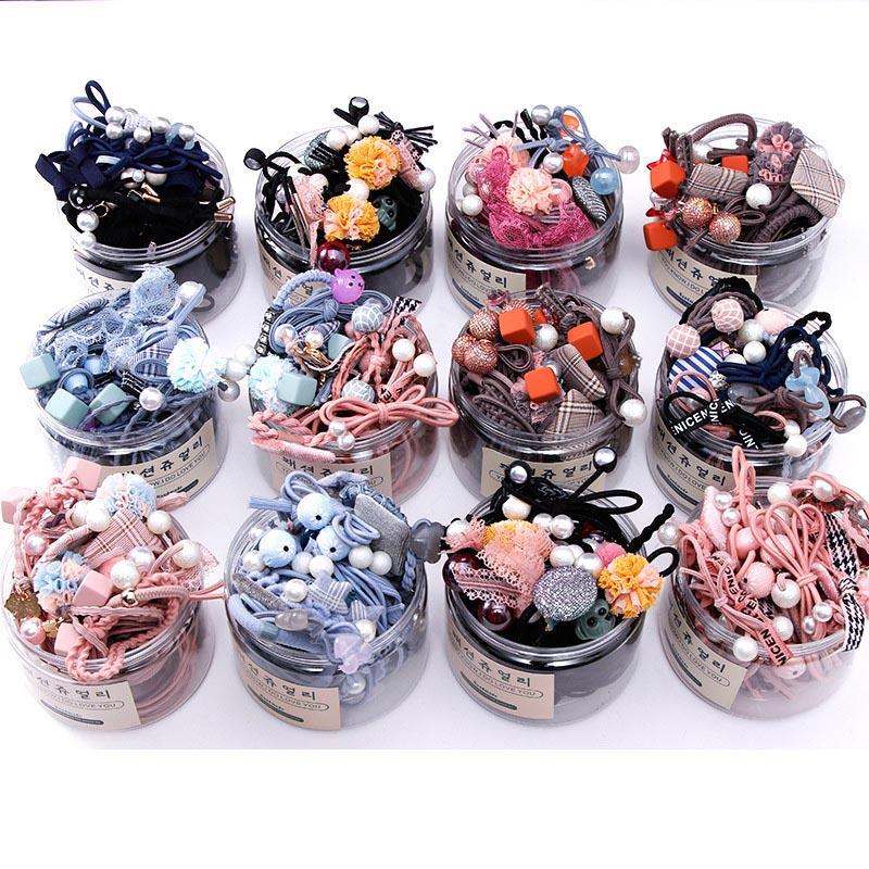 8/12/16/20/25Pcs New Women Girls Basic Knot Pearls Elastic Hair Bands Scrunchies Ponytail Holder Headbands Hair Accessories Set