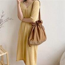 Patchwork Women Canvas Shoulder Bags Large Capacity Ruched Drawstring Design Cloth Handbag Tote Big Eco Shopping Bag For Girls