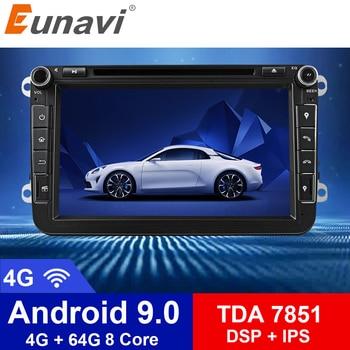 цена на Eunavi 2 din Android 9 Octa Core 4GB 64GB Car DVD for VW Passat CC Polo GOLF 5 6 Touran EOS T5 Sharan Jetta Tiguan GPS Radio DSP