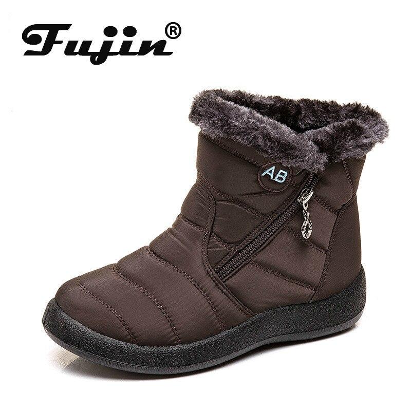 Fujin Cotton Boots Metal Decoration Short Flat-Bottom Round-Toe Winter Fashion Warm Snow
