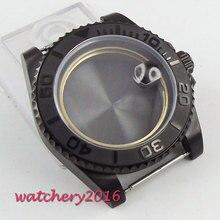 Boîtier PVD inoxydable noir, 40mm en verre saphir minéral trempé, adapté à 2836 mouvements Miyota 82, boîtier de montre pour hommes, nouvelle collection