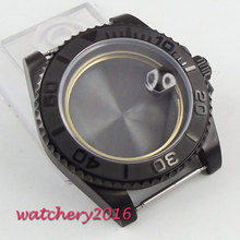 Newest HOT 40mm stainless black PVD CASE hardened mineral sapphire glass fit for 2836 Miyota 82 movement Mens Watch Case