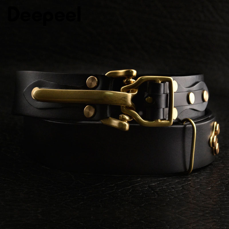 Deepeel 1pc 3.8*110-125cm Men's Top Layer Cowskin Belt DIY Manual Genuine Leather Knight Belt Brass Personality Buckle Waistband