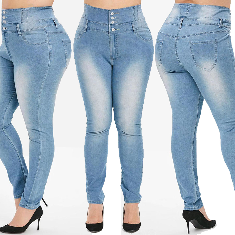 Boyfriend Jeans Pencil-Pants Skinny Blue Plus-Size Casual Fashion Women New Extra High