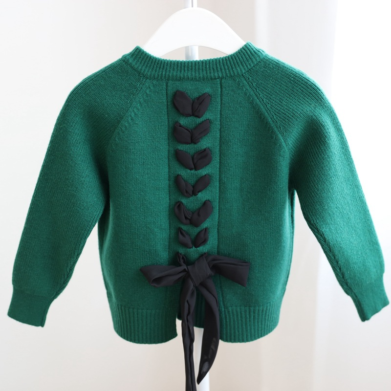 Korean-style Childrenswear Spring And Autumn New Style GIRL'S Cardigan Sweater Children Fine Knit Tops Hb1415