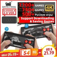 Dados sapo usb sem fio handheld tv vídeo game console construir em 1700 clássico jogo 4k 8 bit mini console de vídeo suporte hd saída