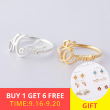 New 925 Sterling Silver Personalized Customizable Child Name Ring Cursive For Women Jewelry Romantic Wedding gift