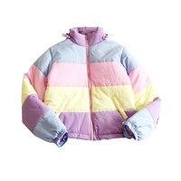 Rainbow Colorful Cotton Padded Parkas Casual Women Autumn Winter Detachable Hat Coat Macaron Pastel Panel Puffer Jacket Coats