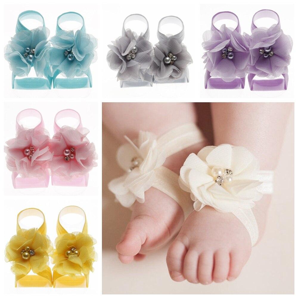 Nishine 2pcs/pair Boutique Chiffon Flower Newborn Toddler Barefoot Sandals Baby Girls Foot Strap Photo Props Kids Accessories