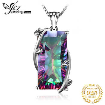 JPalace 16ct Rainbow Mystic Topaz Pendant Necklace 925 Sterling Silver Gemstones Choker Statement Necklace Women Without Chain - DISCOUNT ITEM  30% OFF All Category