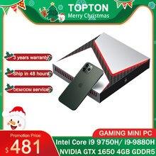 TOPTON oyun bilgisayarı Mini Pc Intel Core i9-8950HK GTX 1650 2 * DDR4 64GB masaüstü Windows 10 4K HDMI DP tipi-C WiFi