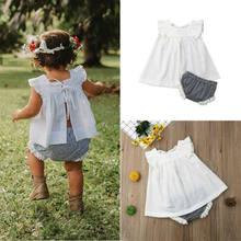 Pudcoco 2020 Verão Bebê Recém-nascido Roupas de Menina Princesa Encabeça Vestido + Shorts Outfits Set 0-24M