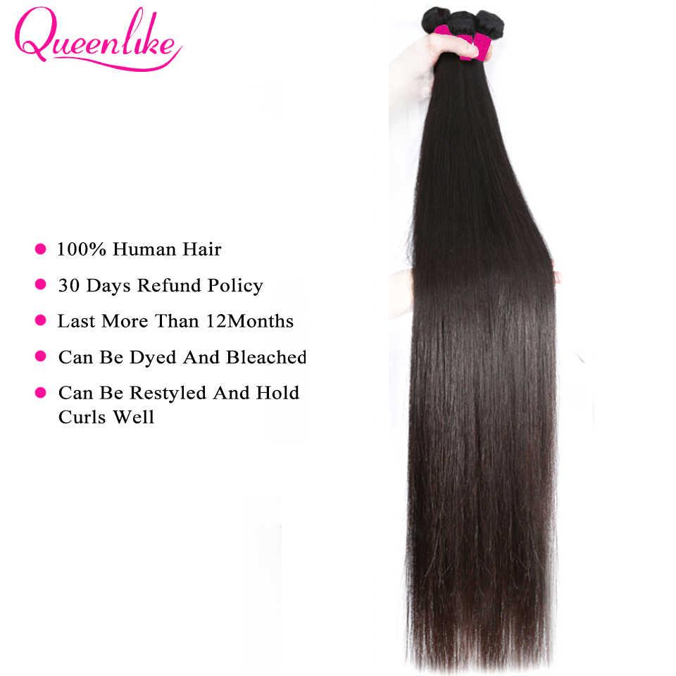 Tek paket brezilyalı düz saç demeti kraliçe 100% insan saçı olmayan Remy çift atkı brezilyalı saç örgü demetleri
