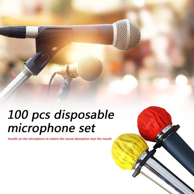 100pcs Disposable Microphone Cover Non-woven O-type Protection Dustproof Anti-spray KTV Karaoke Studio Mic Protective Shield Cap