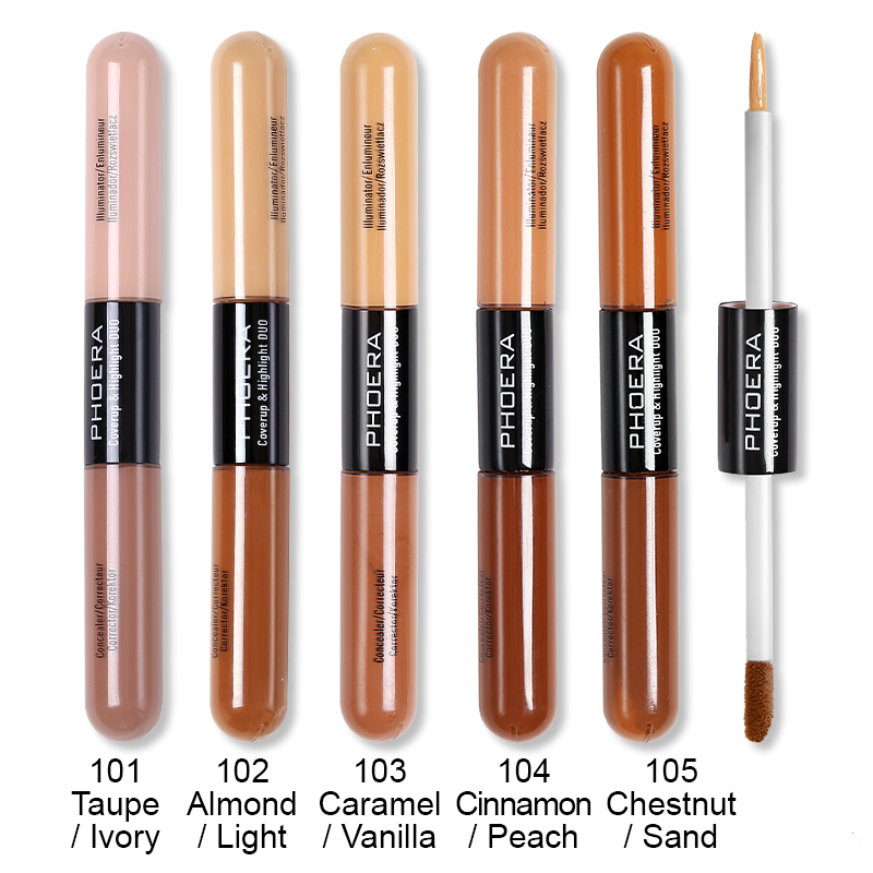 Brighten Skin Color Double Head Concealer Liquid Long Oil Control Waterproof And Sweat Proof Liquid Foundation 5 Colors TSLM1