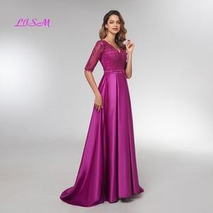 Image 3 - Purple Half Sleeves Evening Dresses 2020 Elegant Lace Appliqued Beaded Long Formal Gowns Illusion V Neck Satin Prom Dress