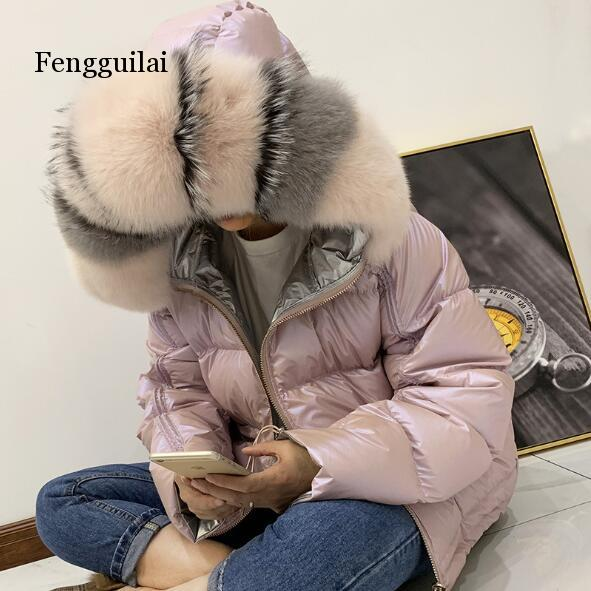 Double faced Wearing Down Coats Womens 2019 Fox Big Fur Collar Down Parkas Ladies Hooded Jackets Female Down Jacket