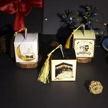 AVEBIEN 20/50pcs Padrão Dos Desenhos Animados Letras Caixa Dos Doces Do Casamento Caixa de Papel de chocolate New Ramadan decoração Lua EID Mubarak коробка