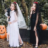 Children Scary Witch Cosplay Scary Costume Day of The Dead Spooky Fancy Dress Girl Halloween Horror Gothic Bride Carnival Party