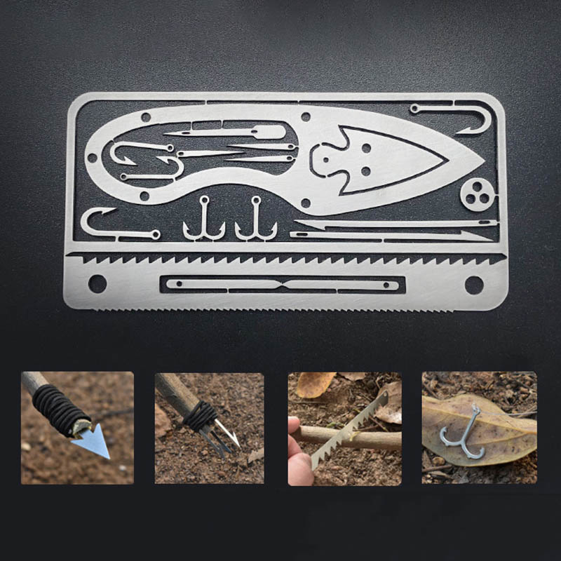 Multifunction Fishing Gear Credit Card Multi-Tool Outdoor Camping Equipment Survival Tools Hunting Emergency Survival EDC Kit