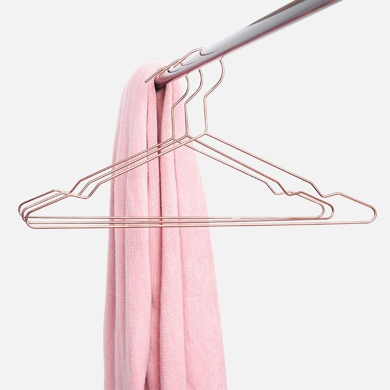 5Pcs Set Simple Rose Golden Hangers Quality Aluminum Seamless Anti slip Drying Rack Creative Practical Wardrobe Storage Hanger in Hangers Racks from Home Garden
