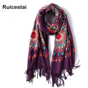 Image 1 - 2020 winter scarf for women vintage Embroidery thick warm cashmere scarves shawls and wraps pashmina ladies bandana echarpe