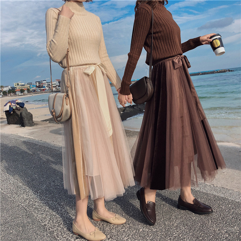4 Colors Maxi Long Tulle Skirt Princess Fairy Bowtie Lace Up Tutu Skirts Womens High Waist Mesh Vintage Long Skirts (mm7774)