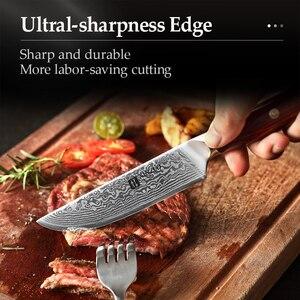 Image 5 - XINZUO 5 אינץ סטייק סכין גבוהה פחמן Japanses דמשק נירוסטה עם Rosewood ידית מעולה באיכות מנגל מטבח כלי