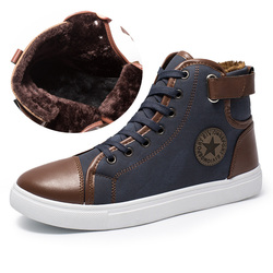 Oudiniao homens sapatos casuais de pelúcia quente inverno tênis masculino alta superior casual 2019 grande tamanho masculino sapatos casuais estrela da moda masculino a