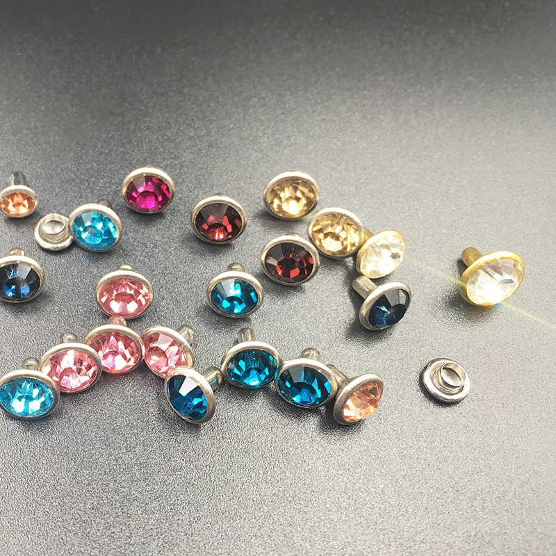 100 Sets Aquamarine Crystal Rhinestone Rivets Studs Metal Base Clothing Bags