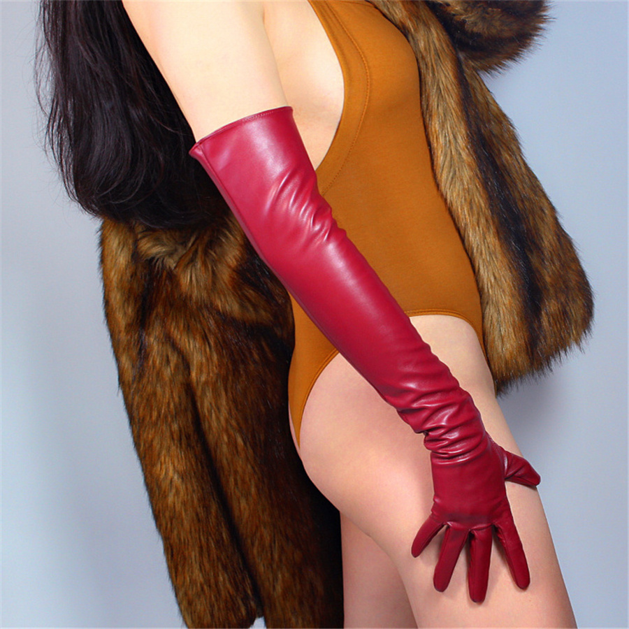 Imitation Leather Long Gloves 40cm Simulation Leather Imitation Leather Imitation Sheepskin PU Deep Wine Red Crimson PUSH40