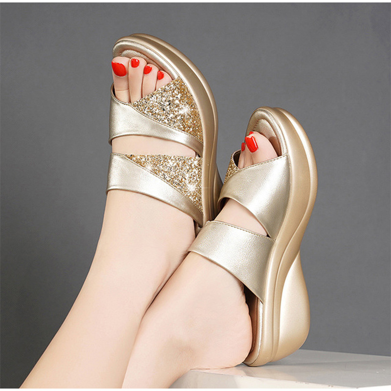 Women Slippers Summer Platform Wedge Open Toe Casual Shoe Ladies Color Mixing Slide Beach Shoes Female Zapatos De Mujer