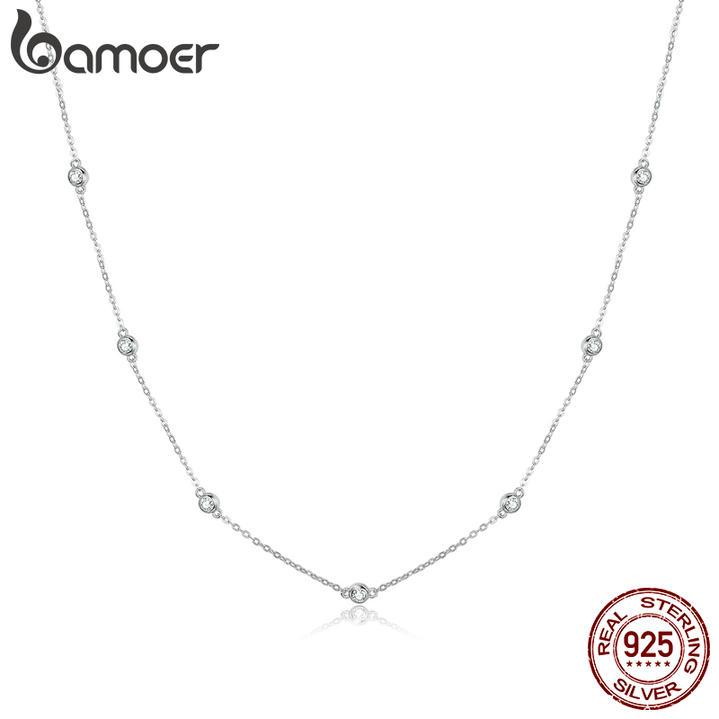 Bamoer Paved CZ Link Chain Necklace Female Luxury Brand Jewelry Short Metal Necklaces 925 Sterling Silver Jewelry SCN393
