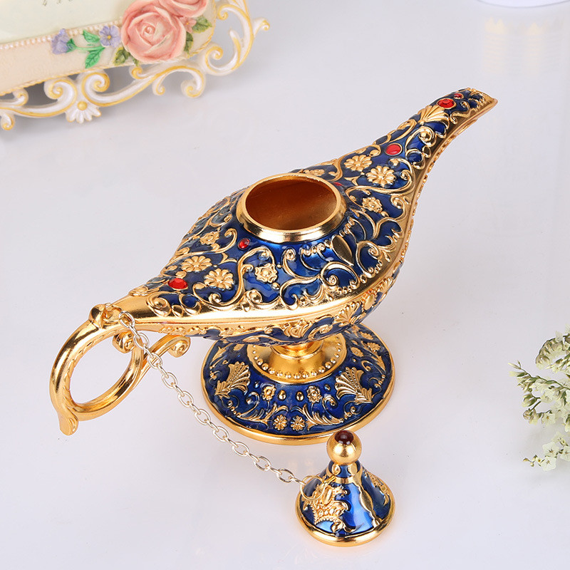 [HHT] Aladdin Magic Lamp Retro Home Decoration Accessories Traditional Hollow Out Fairy Tale Wishing Genie Lamp Tea Pot  Crafts