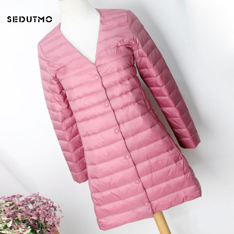 SEDUTMO Winter Plus Size 4XL Womens Duck Down Jackets Ultra Light Coat Long Puffer Jacket Casual Black Autumn Parkas ED838