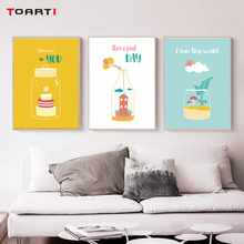 Motivational Quote Prints Posters Cartoon House Cake Canvas Painting On The Wall Love The World Letters Decorative Home Pictures