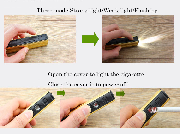 Multi-function Flashlight USB Charging Mini Portable Self Defense LED Flashlight With Cigarette lighter Home Car Emergency Tool  (11)