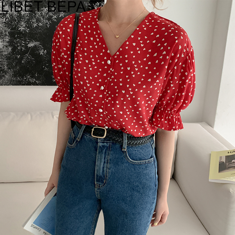 New 2020 Summer Women's Blouse Casual V-Neck Fashionable Single Breasted Vintage Pagoda Sleeve Shirts Print Sweet Tops BL5056