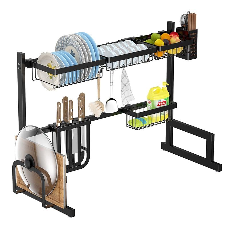 Black Stainless Steel Kitchen Rack Sink Drain Dry Dish Rack Kitchen Supplies Storage Pool Put Bowl Shelf Racks & Holders     - title=