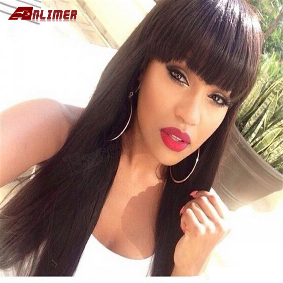 Lace Front Human Hair Wigs With Bang For Black Women Peruvian Remy Human Hair Wigs Pre Plucked With Baby Hair