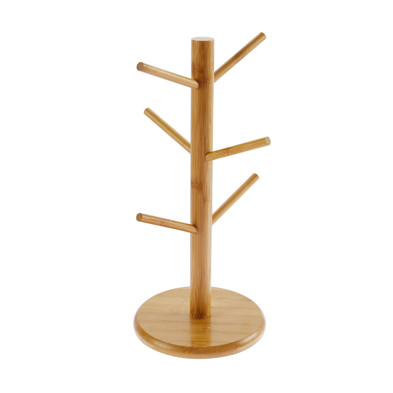 Wooden Mug Tree Stand Cup Coffee Cup Hanging Rack Holder Kitchen Storage S