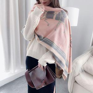 Image 5 - Mode Winter Schal Frauen Kaschmir Warme Pashmina Foulard Dame Luxus Pferd Schals Dicke Weiche Bufanda Schals Wraps 2020 Neue